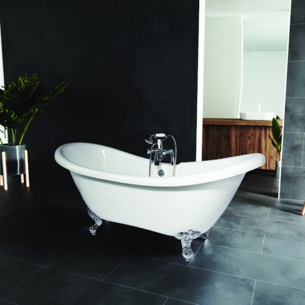 Double sliper freestanding bath
